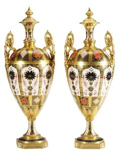 348: Pair Royal Crown Derby Porcelain Urns