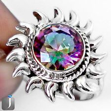 Multicolor Rainbow Topaz 925 Sterling Silver Rising Sun Ring Size 7 G45534