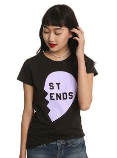 "We know how your heart breaks when your other half is only across the room at a party. You're pretty much together all the time, that's why this ""Best Friend"" shirt is all it's cracked up to be! Black tee features a pastel purple half heart, cut-off phrase and short sleeves. Get the matching half as a gift for your bestie <a href=""http://www.hottopic.com/product/pastel-blue-heart-best-friends-girls-t-shirt/10975034.html"">here..."