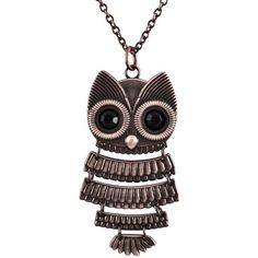 Decree Owl Watch Pendant Necklace (1,525 INR) ❤ liked on Polyvore featuring jewelry, necklaces, accessories, pendant jewelry, thick necklace, stone necklaces, stone jewelry and stone pendant necklace