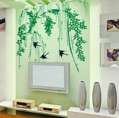 wall decals quotes --Amazon.com - YYone Weeping Willow and Swallows Removable Wall decor Decals Sticker -