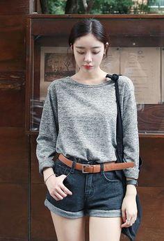 Urban Round Knit Tee | Korean Fashion