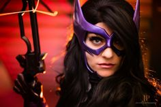 Huntress inspired mask in metallic purple OR black (can also be made in other colors)