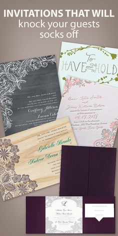 Wedding invitations that will knock your guests' socks off I real wood, real glitter, letterpress, foil and pocket wedding invitations