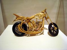 The folk art of one inmate, delicately crafted from the bones of gophers and other small animals, bending and arcing to form a model motorcycle. Prison Art, Bone Crafts, Prisoners Of War, Small Animals, Outsider Art, Weird And Wonderful, Bending, Trench, Folk Art