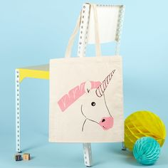 Miss Unicorn Tote Bag - Shopping Bag - Unicorn Bag - Animal Bag