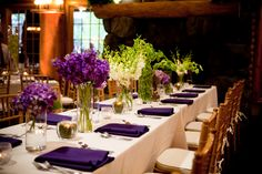 Purple, white, and green floral tablescape centerpieces Floral and Decor by Southern Event Planners Centerpieces, Table Decorations, Tablescapes, Table Settings, Southern, Reception, Event Planners, Purple, Celebrities