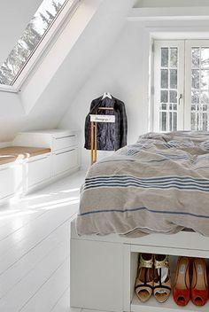 Soveværelset med kreativ udnyttelse af pladsen