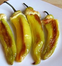 These Hungarian cheese-stuffed wax peppers, or sajtos toltott paprika, are a meatless main course or side dish suitable for vegetarian and gluten-free diets. Wax Pepper Recipe, Hot Pepper Recipes, Hungarian Cuisine, Hungarian Recipes, Hungarian Food, Veggie Recipes, Cooking Recipes, Gf Recipes, Veggie Dishes