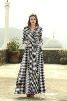 Awesome Fa Womens Check Maxi Dress With Collar Style Muslim Fashion, Hijab Fashion, Fashion Dresses, Cotton Gowns, Vintage Inspired Outfits, Gingham Dress, White Dress, Check Dress, Mode Hijab