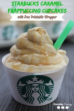 Starbucks Caramel Frappuccino Cupcakes - Looking for a fun and yummy coffee cupcake recipe? Then check out these Starbucks Caramel Frappuccino Cupcakes. They are easy to make with  a boxed cake mix and Starbucks Via Coffee.  Plus they include a FREE printable cupcake wrapper.
