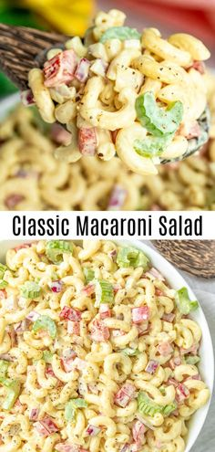 Macaroni Salad is an easy side dish for potlucks summer parties or Easter dinner Elbow macaroni veggies and a creamy tangy sauce make this cold pasta salad perfect for a. Southern Macaroni Salad, Classic Macaroni Salad, Macaroni Salad With Ham, Summer Macaroni Salad, Summer Pasta Salad, Deli Macaroni Salad Recipe, Elbow Macaroni Recipes, Homemade Macaroni Salad, Potluck Side Dishes