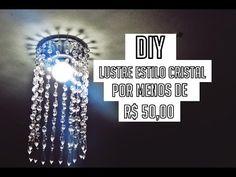 Como fazer uma Luminária de Barrica de papelão parte 2 - YouTube Molduras Vintage, Chandelier Art, Dollar Tree Decor, Diy Crystals, Lampshades, Dyi, Lights, Home Decor, Youtube