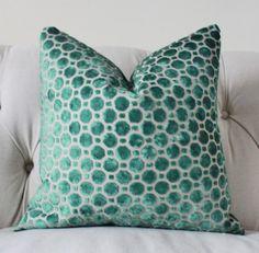 Decorative Designer Pillow Cover - Geometric Emerald Green Velvet Pillow - Throw Pillow - Robert Allen - Green Pillow
