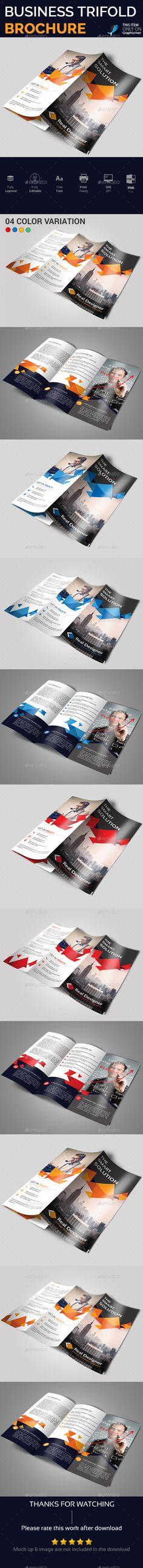 Company Business Tri fold Brochure Template PSD