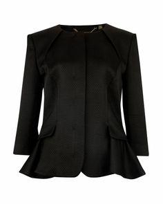 Peplum jacket - Black | Jackets & Coats | Ted Baker