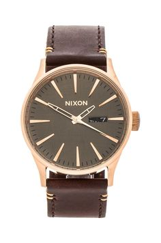 Nixon The Sentry Leather in Rose Gold & Brown | REVOLVE