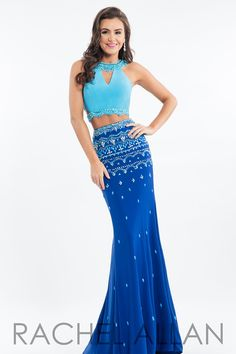 ae7ba9a0ce8 RA 7512 - Color Blocked Two-Piece Jersey with Tone On Tone Beading
