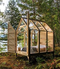 WOOD you want to stay in this little cabin in the woods?: WOOD you want to stay in this little cabin in the woods? Tiny Cabins, Tiny House Cabin, Tiny Guest House, Guest Houses, Log Cabins, Cabin In The Woods, Little Cabin, Glass House, Glass Cabin