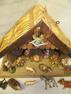 vintage christamas musical nativity set italy