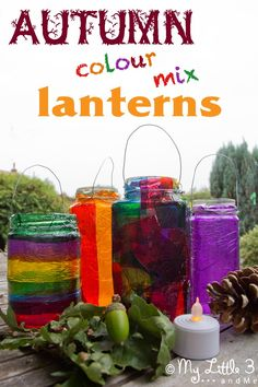 Make easy Stained Glass Effect Lanterns, a lovely recycled Autumn/Fall craft for kids and a great way to explore colour mixing.