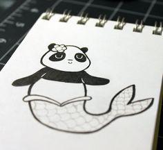 Panduhmonium 31 Days of Inktober - Day 11 Panda Art, 31 Days, Cute Food, Inktober, Objects, Snoopy, Kawaii, Japan, Artwork