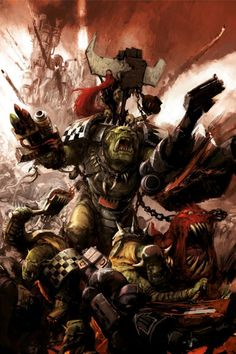 """inquisitors-art-gallery: """" Ork warboss, boys, and attack squig. By one of the many uncredited Games Workshop commissioned artists """" Warhammer Fantasy, Warhammer 40k Art, Ork Warboss, Martial, Orks 40k, Gundam Wallpapers, Space Wolves, Geek Art, Dark Ages"""