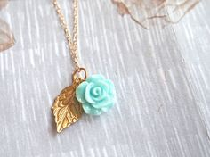 Turquoise Petite Rose with gold leaf necklace by VintageDiary, $20.00