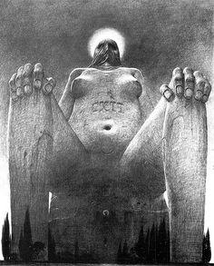 Zdzislaw Beksinski - Bocetos, dibujos y delirios [Arte] - Luciernaga Curiosa - Taringa! Art Macabre, Gothic Art, Horror Art, Art Design, Surreal Art, Black Art, Figurative Art, Les Oeuvres, New Art