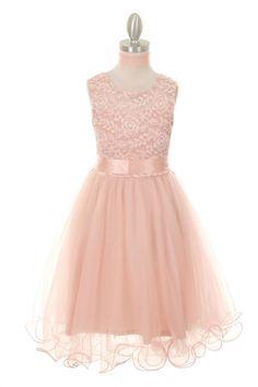 Blush Soft Embroidered Flower Girl Dress CC-5002-BS on www.GirlsDressLine.Com