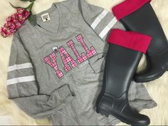 Y'all have got to come feel how amazingly soft this @jadelynnbrooke jersey is! Of course paired with rain boots & boot socks! Shop online & in stores! #shopPD