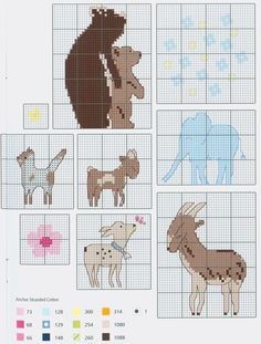 Cute animals free cross stitch pattern