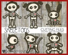 Cute Skeletons SVG Cut Files -For Use with Cutting Machines - svg, mtc, pdf, gsd, and wpc files