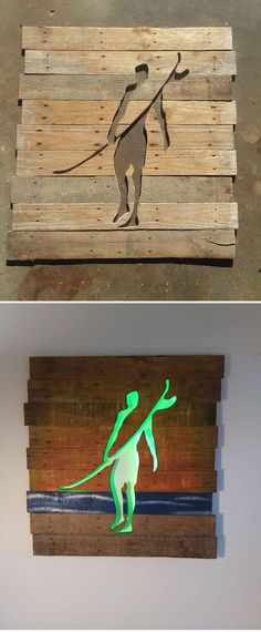 40 Pallet Furniture With Glowing Wall Art Pallet glowing man art The post 40 Pallet Furniture With Glowing Wall Art appeared first on Pallet Diy. Wooden Pallet Wall, Diy Pallet Sofa, Pallet Wall Art, Pallet Walls, Diy Pallet Projects, Wooden Diy, Pallet Furniture, Wood Pallets, Wood Projects