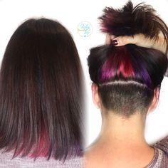 Underlights, hidden rainbow, pink, red, purple hair color, hidden undercut , peek-a-boo color, fun hair - by Kellyn at Bow & Arrow, North End Boston at www.bowandarrowcollective.com