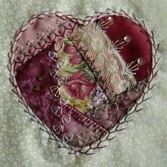 crazy quilting by hand Crazy Quilting, Crazy Quilt Stitches, Crazy Quilt Blocks, Patch Quilt, Hand Quilting, Crazy Heart, Fabric Hearts, Art Textile, Quilt Stitching