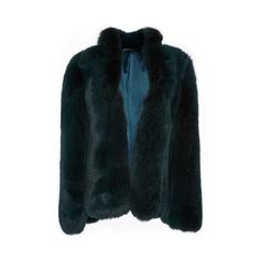 Giambattista Valli Fox Fur Coat ($10,300) ❤ liked on Polyvore featuring outerwear, coats, brandon maxwell, fur, green, green coat, blue fox fur coat, fox fur coat, oversized coat and blue coat