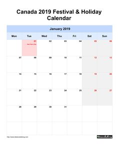 Canada Festival & Holiday Calendar 2019 one month per page Monday to Sunday grey week day