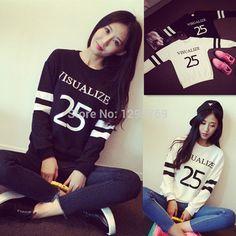 2015 Spring Autumn Women Loose BF 25 Letters Printed Long Sleeve Hedging Sweatshirts Pullovers C0182|fa26666f-d09a-4844-901a-3e406244428c|Hoodies & Sweatshirts