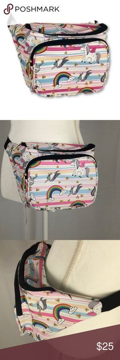 NWT UNICORN FANNY PACK PINK RETRO WAIST BAG TOTE NEW! 3 ZIPPER COMPARTMENTS ADJUSTABLE NYLON WAIST BELT WITH PLASTIC CLIP.  WEAR AROUND YOUR WAIST OR CROSSBODY OR SHOULDER BOUTIQUE Bags Crossbody Bags