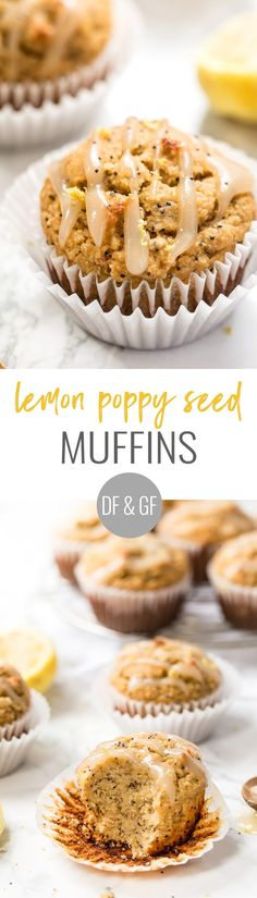 gluten-free lemon poppy seed muffins with lemon coconut butter icing