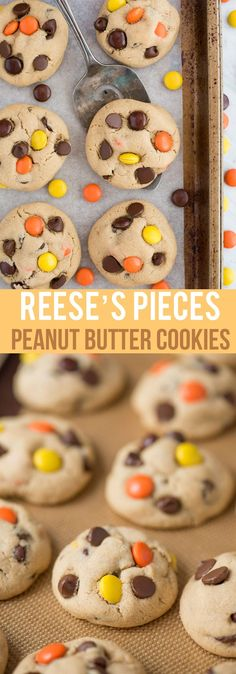 pieces cookies - EASY no chill peanut butter cookie recipe with reese's pieces and chocolate chips. Peanut Butter Dessert Recipes, Peanut Butter Cookie Recipe, Best Cookie Recipes, Best Dessert Recipes, Fun Desserts, Sweet Recipes, Delicious Desserts, Cookie Desserts, Yummy Treats