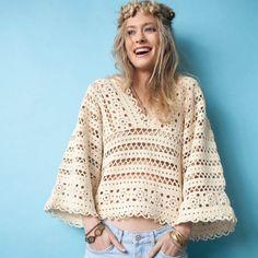 Un pull bohème en crochet - Crochel top pattern - Marie Claire Idées