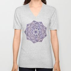Ultraviolet Mandala Unisex V-Neck by beebeedeigner Bee Bee, Dress Outfits, Fashion Outfits, Comfy Hoodies, Visual Arts, Loungewear, Ultra Violet, V Neck T Shirt, Heather Grey