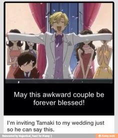 Omg how awesome would that be lol 😂 ouran high school host club ouranhighschoolhostclub ohshc rich tamaki suoh prince king fancy rich expensive weird lovable anime manga animation wedding meme funny lol lmfao Ouran Highschool Host Club, Ouran Host Club, High School Host Club, Host Club Anime, Grimgar, Manga Anime, Manga Art, L Death, Funny Memes