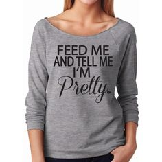 Feed Me and Tell Me I'm Pretty Sweater Workout Shirt Slouchy Off the... ($22) ❤ liked on Polyvore featuring tops, sweaters, white, women's clothing, loose off the shoulder tops, grey shirt, 3/4 length sleeve tops, off shoulder shirt and loose fitting tops