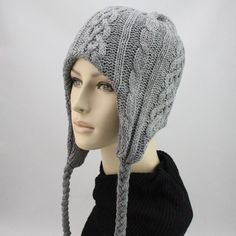 Women's hat knitted cap fashion winter knitted ear thermal knitted hat  $12.99
