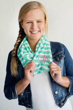 Personalized and Monogrammed Kids Infinity Scarves! Mint Green and White Striped Infinity scarf