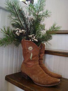 Christmas Cowboy Boots for Sarahs home!