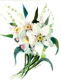 Buy Lilies of The Valley and Daffodils, Watercolor by Suren Nersisyan on Artfinder. Discover thousands of other original paintings, prints, sculptures and photography from independent artists. Watercolor Artwork, Watercolor Paper, Watercolor Flowers, Original Artwork, Original Paintings, Eco Friendly Paper, White Springs, Paper Tags, Lily Of The Valley